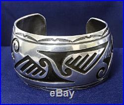 Vintage Native American Hopi Traditional Overlay Design Cuff Bracelet Marked