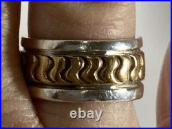 Vintage Navajo Artisan Darin Bill Spider Mark Heavy Sterling & Gold Band Ring