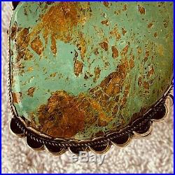 Vintage Navajo Old Pawn Turquoise Cabochon Bracelet, Mark M Sterling, 1980s