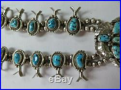 Vintage Navajo Sterling Silver Squash Blossom Necklace Fg Marked Turquoise