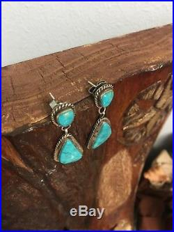 Vintage Navajo Two Stone Turquoise Rope Style Earrings 925 Sterling. Marked CJ
