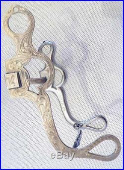 Vintage Norm Vogt Star Marked Sterling Silver Western Mullen Mouth Bridle Bit