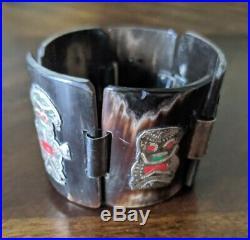 Vintage Peruvian Inca 925 Sterling Silver Story Teller Panel Bracelet Marked LGF