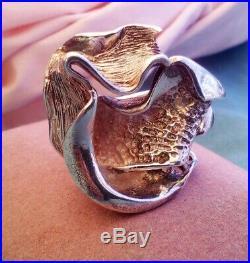 Vintage Ring Sterling Silver Modernist Brutalist marked 925 Huge, Size Small