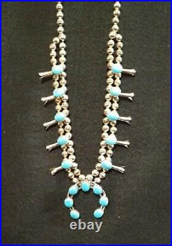 Vintage Signed Marked Turquoise Squash Blossom Sterling Silver Necklace 27 Inch
