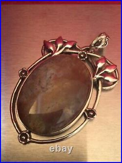 Vintage Solid Sterling Silver Art Nouveau Style Large Agate Pendant Marked 925