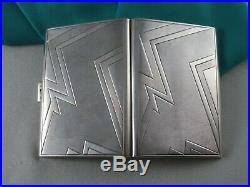 Vintage Sterling Silver Art Deco Card Case, Austria, Marked, 1930's, Gilt Inside