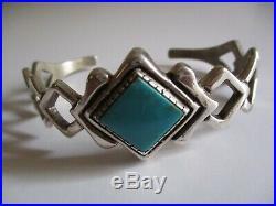 Vintage Sterling Silver Cuff Bracelet Unknown Original Marked 1 Inch Widest