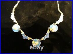Vintage Sterling Silver Enamel Necklace. Scandinavian Marked E sterling
