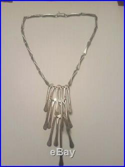 Vintage Sterling Silver Fringe Necklace CDC Eagle Mark Taxco Modernist