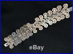 Vintage Sterling Silver Hand Made Bracelet From Mexico Marked Scrolls Decor