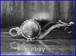 Vintage Sterling Silver Inlay Bit Large Concho S Cheek Med. Port Mp Maker Marked