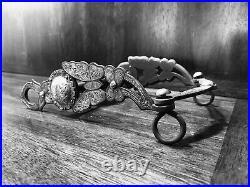 Vintage Sterling Silver Inlay Butterfly Pierced Cheek Monalisa Mpiece Marked