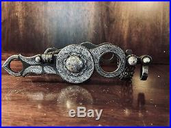 Vintage Sterling Silver Inlay Columbia Cheek Spoon Mpiece Show Bit Maker Marked