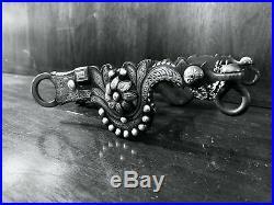 Vintage Sterling Silver Inlay Santa Barbara Cheek Daisy Motif Bit Maker Marked