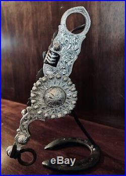 Vintage Sterling Silver Inlay Santa Barbara Star Motif Show Bit Maker Marked