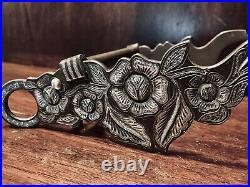 Vintage Sterling Silver Inlay Sta Barbara Bit Chiseled Floral Style Maker Marked