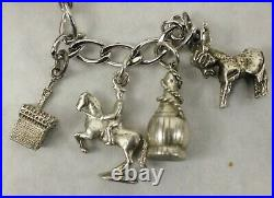 Vintage Sterling Silver Italy / Rome Theme Charm Bracelets 14 Charms 7 length