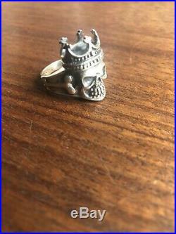 Vintage Sterling Silver Marked 925 Mens Skull Bones Crown Biker Ring Size 10