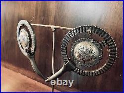 Vintage Sterling Silver Overlay Concho Snaffle Bit Maker Marked Garcia
