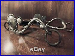 Vintage Sterling Silver Overlay Concho With Mounted Stone Show Bit Maker Marked