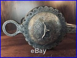 Vintage Sterling Silver Overlay Huge Concho Show Bit Salinas Mp Maker Marked