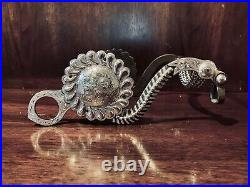 Vintage Sterling Silver Overlay S Cheek Bit With Tear Drop Concho Maker Marked