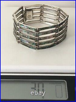 Vintage Taxco JHE EAGLE 3 MARK Sterling Silver Abalone Wide Link Bracelet 7.5