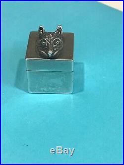 Vintage Tiffany & Co. 925 Sterling Silver Fox Head Pill Box RARE Italy Marked