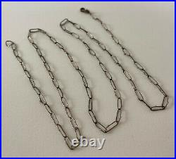 Vintage VICTORIAN Sterling Silver Watch Fob Chain Oval Necklace Hall Marked