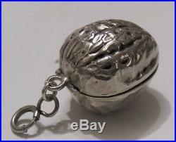 Vintage marked sterling silver walnut thimble & case holder locket chatelaine