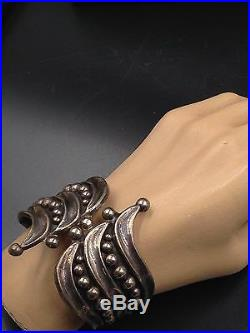 Vtg Hecho En Mexico Taxco Sterling Signed Jhc Eagle Mark Bypass Clamper Bracelet