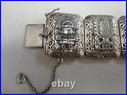 Vtg Mexican Sterling Silver Bracelet marked 925 Aztec style 75.3 grams