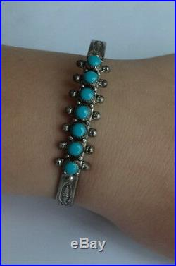 Vtg Navajo Mark JP Ukenstine Turquoise Sterling Silver Cuff Bracelet Child