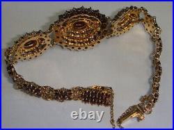 Vtg Sterling Gilt Bohemian Chunky Garnet Domed Cluster Oval Full Design Bracelet