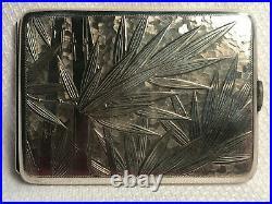 Vtg Sterling Silver. 950 Marked Bamboo Design Cigarette Case (113.82g)