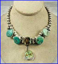 Zuni Artist Mark Myron Panteah Sterling & Turquoise Beaded Necklace Choker-15