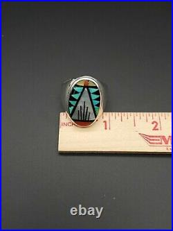 Zuni Native American Artist Marked R. B. Mosaic 925 Sterling Silver Sz. 12.5 Ring
